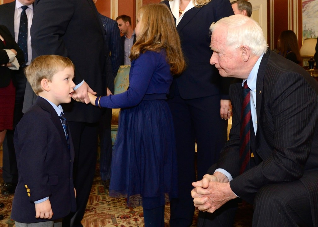 Jack talking to the Governor General about astronauts at my swearing in as Minister of Veterans Affairs on Jan. 5, 2015.